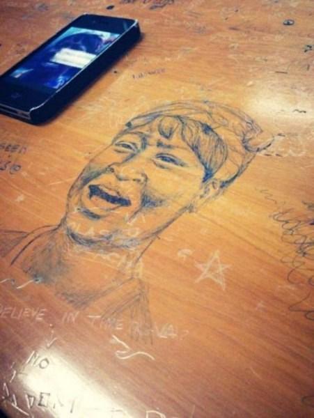 Derslerden Sıkılan Öğrencilerin Sanatsal Çalışmaları
